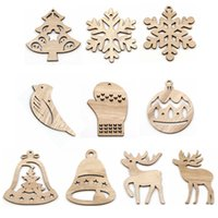 10PCS DIY Multi Tpye Natural Christmas Wooden Pendants Ornam...