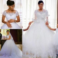 Plus Size Sheer Scoop Neck Wedding Dresses with Lace Appliqu...