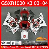 Carrosserie voor Suzuki GSXR-1000 GSXR1000 2003 2004 03 04 Body 15HC.96 Frame GSX R1000 GSX-R1000 K3 GSXR 1000 03 04 Fairing Kit Lucky Red Stock