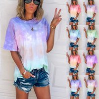 7 Renkler Kadın T-shirt Kravat Boya Degrade Moda Lode Kısa Kollu Ekip Boyun Yaz Top Giyim S-5XL