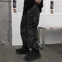 Tamaño más flojo Paisley Bandana Hip Hop Harem del basculador Track Pant Streetwear Harajuku punk de carga pantalones de las mujeres del hombre coreano Blusas