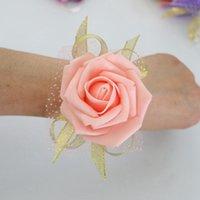 Невеста невесты запястье цветок искусственная сестра рука цветок Лента невесты эластичный браслет свадебные украшения 5 Цвет HHA979