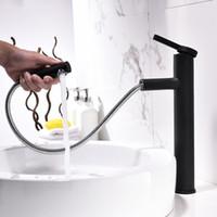 Çıkan Ve Dönebilir Stil Tek Saplı Havzası Musluk Mat Siyah Beyaz Banyo Suyu Karıştırıcı Pull