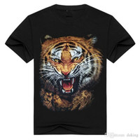 Estate Us Russia Tide Brave Men Tiger Wolf Head 3d Animal Print Streetwear Tshirt Manica corta Nero White Cotton Chiffon Camicia anti-rughe