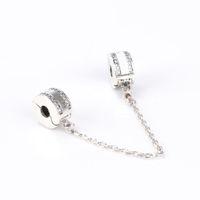 Nuovo classico 925 accessori per gioielli in argento sterling 925 logo Catena catena scatola originale per Braccialetto Pandora Charms fai da te Catena sicura Spedizione gratuita