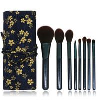 Деревянная ручка Mkeup Brushes 8Pcs Портативная косметическая кисточка с цветочным принтом Сумка для теней для век с косметическими кисточками для глаз GGA2269