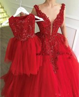 Appliqued Lace Red Evening Dresses 2019 with Labourjoisie Du...