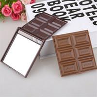 광장 포켓 거울 유리 플라스틱 여성 소녀 사랑스러운 모양의 새로운 접이식 귀여운 미니 메이크업 거울 초콜릿 쿠키