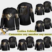 Pittsburgh Penguins Golden Edition 87 Sidney Crosby 71 Evgeni Malkin 59 Guentzel تخصيص أي عدد أي اسم الهوكي الفانيلة