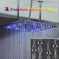이 개 기능 욕실 수력 LED 샤워 럭셔리 400x400mm 304 스테인레스 스틸 천장 빅 레인 샤워 헤드와 무기
