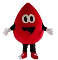 2019 haute qualité sang rouge goutte mascotte costume dessin animé personnage fantaisie robe EMS livraison gratuite