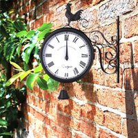 Retro del gallo colgantes de pared del tiempo del reloj de cuarzo redonda antiguo jardín decorativo del arte del hierro doble echó a un lado al aire libre