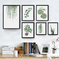 Vert plante numérique peinture moderne décoré photo encadré peinture mode Art peint hôtel canapé décoration murale dessiner VT1496-1
