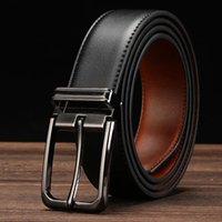 "2019 Dress Belt for men alta qualità Leather 1.3 ""Wide big Buckle fashion design semplice cinture per ufficio due colori in uno"