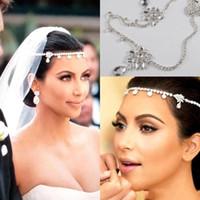 2019 Ucuz Kim Kardashia Sıcak Düğün Gelin Saç Takı Tiaras Kristal Bantlar Kafa giymek Corona Saç Pins Düğün Aksesuarları
