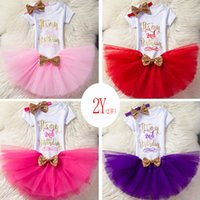 Ins Baby Girls Birthday Outfits Infant Letters Romper+ tutu s...