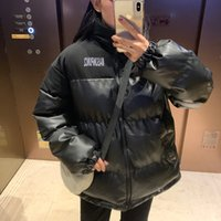 Women Korean Version of Loose Black Cotton Jacket Winter PU ...
