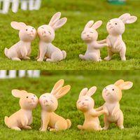 Conejo miniatura mini animal de la historieta de la decoración de PVC Craft Adornos Llavero Accesorio Micro-paisaje Hada del jardín DIY Material