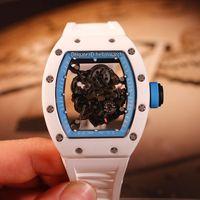 Лучшая версия New RM055 Скелетная циферблатная Япония NH Автоматические мужские Часы Белый Y-TZP Нано керамические Композиты Чехол Синий Внутренний Резиновый Ремешок Часы