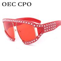 Marco OEC CPO marca de moda las gafas de piloto Mujeres hombres de gran tamaño de la perla Gafas de sol grande retro Eyewear de los anteojos Por Primera marca L 157 Mujer