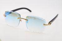 Rimless Diamond Cut 3524012-Um Original Black Buffalo Chifre Sunglasses Moda de Alta Qualidade Lentes Esculpidas Multi Óculos Unisex Gold Metal Frame