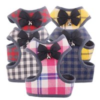 Fashion Plaid Printed Pet Harnesses Cute Bow Knot Bell Dog V...