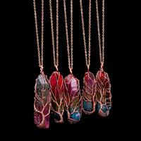 Árbol de piedra hecha a mano 7 Chakra del arco iris natural de collar colgante de la vida de las mujeres de los hombres de cristal ópalo Declaración larga cadena de la joyería regalo