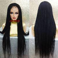 Hot Cheap Noir mirco Perruques Tresse haute qualité Tressage cheveux résistant à la chaleur Tressé Glueless synthétique avant de dentelle perruques pour les femmes noires