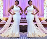 새로운 남아프리카 인어 웨딩 드레스 새로운 플러스 사이즈 1 어깨 신부 가운 샴페인 레이스 아플리케 두바이 아랍어 수용 드레스