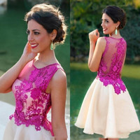 2020 Short Homecoming Party Dress Lace Applique Illusion Bac...