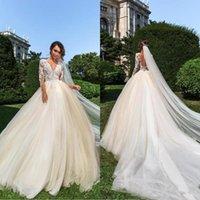 Великолепный арабский V образным вырезом иллюзия свадебные платья кружева аппликации свадебные платья vestido de novia с длинным рукавом свадебные платья партии