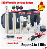 سخونة eVod 4 في 1 vaporizer وي vape kit evod بطاريات 510 خرطوشة vape الجاف عشب dab الأقلام الزجاج غلوب النفط vapes بداية مجموعات