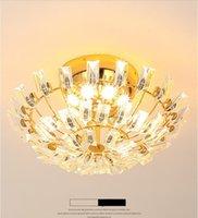 룸 빌라 클럽 호텔 레스토랑 생활 로비 현대 고급스러운 분위기 라운드 호박 크리스탈 LED 침실 천장 램프