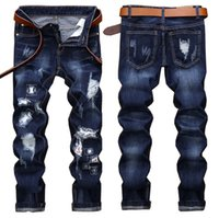 Modedesigner Herren Ripped Patchwork Jeans Straight Leg Motorrad Big Size Patches Slim Fit Jeans Streetwear Hose JB2040