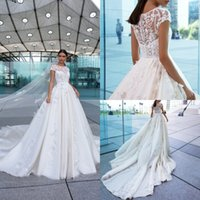 Manica corta cristallo elegante design A Line Wedding Dresses Jewel pizzo applique da sposa abiti sweep treno robe de mariée