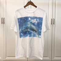 2019 Men' s Blue dolphin Funny Cotton T Shirts Unisex Su...