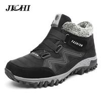 JICHI Botas de hombre Invierno con piel 2018 Botas de nieve cálidas Botas de invierno Zapatos de trabajo Calzado de hombre Zapatos de tobillo de goma 35-46