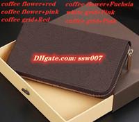 Оптовая 6 цветов моды одного молния мужчины женщины кожаный бумажник конструктора кошелек леди длинный кошелек с оранжевой коробки карточки хуа Сандал обуви 60017