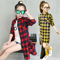 Girls shirt 2019 new cotton spring and autumn in the long pa...