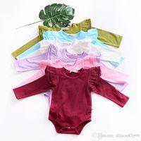 Ins Baby Girl Abbigliamento Onesies Pagliaccetto Flutter Sleeve Carino Solid Manica lunga Pagliaccetta a maniche lunghe All-abbinata 2019