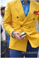 Trajes de la venta caliente doble de pecho de boda del ajustado de esmoquin para los hombres de los padrinos Traje de dos piezas barato Prom juegos formales (chaqueta + pantalones + lazo) 231