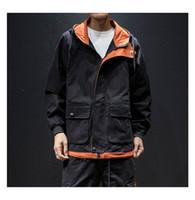 Contraste de moda Color Prendas de abrigo Abrigo Ropa para hombre Streetwear Chaqueta masculina Hombres High Street Hoodies Chaquetas de Hip Hop Ropa de moda Venta caliente