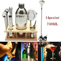 Cocktail Shaker Set Acciaio inossidabile Cocktail Shaker Ice Tong Mixer Drink Barman Kit Bar Set Strumento professionale barista con cornice in legno