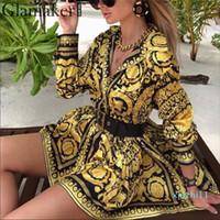 Fashion-Sexy Пейсли старинные печати золота платье Женщины пляжный отдых вскользь платье лето элегантный короткий вечеринка клуб большой размер