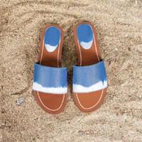 상자에 2020 여름 여성 비치 샌들 에스 플랫 뮬 여성 잠금 IT 슬리퍼 모노그램 캔버스 럭셔리 블루 Pantoufle 슬라이드 디자이너 신발