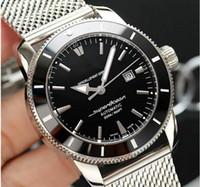 Lüks Superocean kuvars kronograf Otomatik hareketi moda Gümüş erkek İzle Erkekler Paslanmaz Çelik saatı saatler