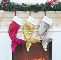 Sequin Mermaid Tail Christmas Stockings Gift Wrap Kids Candy...