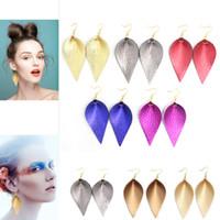 Cuero al por mayor Pendientes Pendientes de moda de cuero de la hoja ligeros pendientes Declaración de cuero para las mujeres señoras niñas bijoux