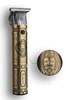USB recargables hombres eléctricos barbería oro condensador de ajuste de cortar el pelo de la cabeza de aceite retro T9 cortador profesional de la barba