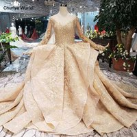 HTL151 golden puffy evening dress tulle o neck long sleeves ...